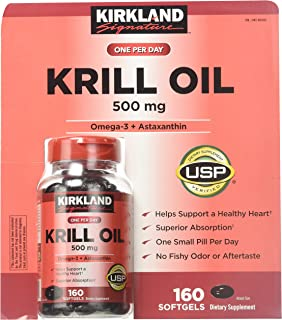Kirkland Signature Krill Oil 500 Milligram 160 Softgels