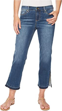Liverpool - Tabitha Straight Crop with Ankle Slits in Vintage Super Comfort Stretch Denim in Montauk Mid Blue