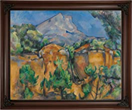 Historic Art Gallery Mountains Mont Sainte-Victoire Seen from The Bibemus Quarry 1897 by Paul Cezanne Framed Canvas Print, Size 16x20, Brown