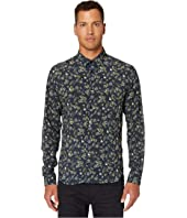 The Kooples - Classic Collar Button Down Shirt in A Green Flower Print