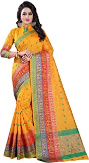 Women's Poly Silk Printed Saree With Blouse Piece