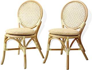 Set of 2 Denver Dining Armless Accent Side Chair with Cream Cushions Handmade Rattan Wicker Furniture White Wash