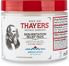 THAYERS Medicated Aloe Vera Topical Pain Relief Pads, Witch Hazel, 60 Count (7002)