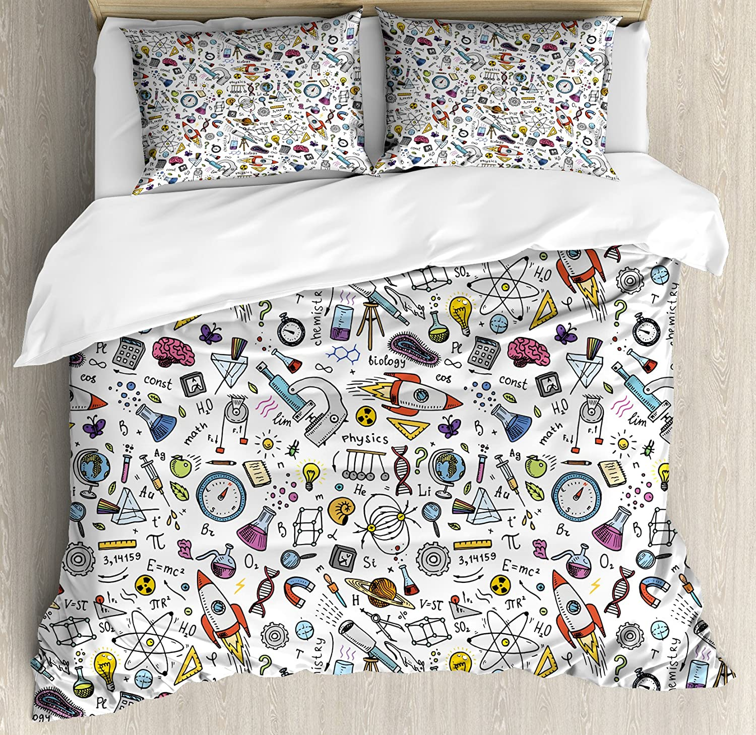 Ambesonne Science Duvet Cover High quality Deluxe new Formulas Pattern Set Labo