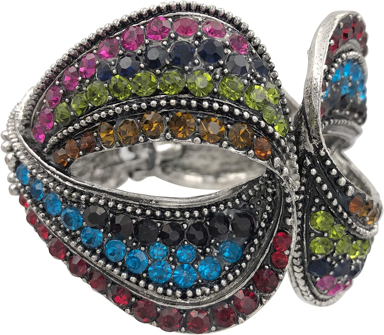 Gypsy Jewels Large Statement Fancy Rhinestone Bling Chunky Hinged Bangle Bracelet - Assorted Colors