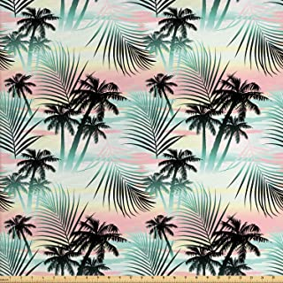 Ambesonne Hawaii Fabric by The Yard, Summer Season Palm Trees and Exotic Fern Leaves with Abstract Colorful Background, Decorative Fabric for Upholstery and Home Accents, 1 Yard, Almond Green