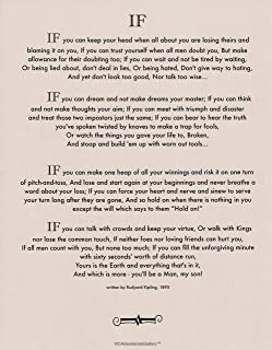 Desiderata Gallery Brand, If Poem by Rudyard Kipling in 1895. (Author of The Jungle Book) Tan Card Stock 11x14 in.