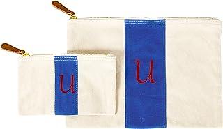 مجموعة حقيبة يد قماشية مخططة ذات طابع شخصي من Cathy's Concepts باللون الأزرق، حرف U