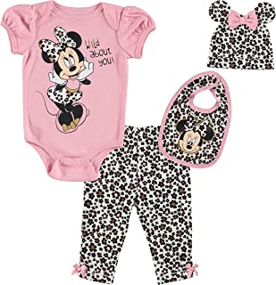 Minnie Mouse Baby Girls 4 Piece Layette Set: Bodysuit...