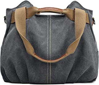 Women's Ladies Casual Vintage Hobo Canvas Daily Purse Top Handle Shoulder Tote Shopper Handbag
