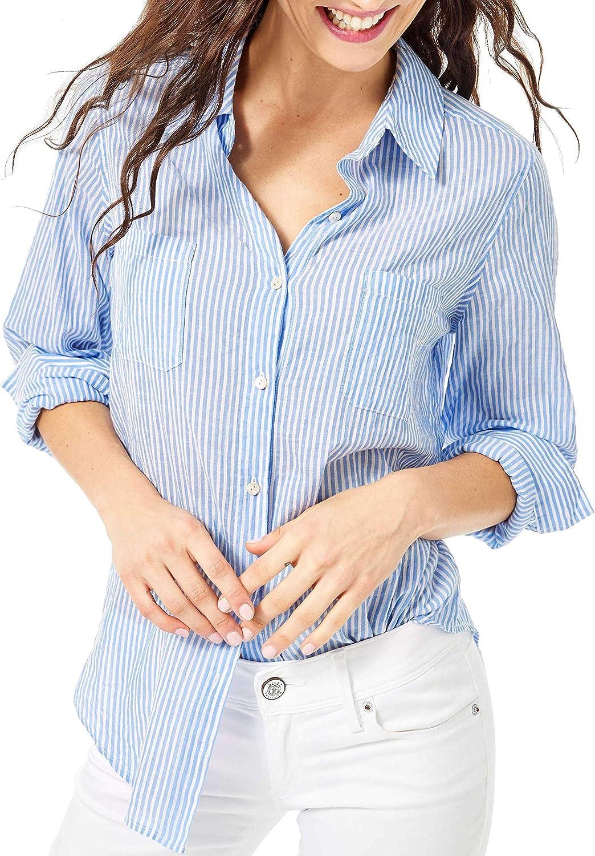Lilly Pulitzer - Sea View Linen Button Down Blouse - Coastal Blue Oxford Stripe