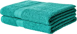 AmazonBasics Fade-Resistant Cotton Bath Towel - Pack of 2, Teal