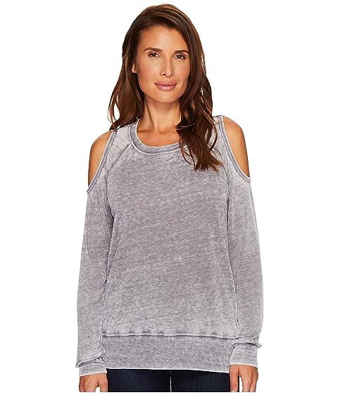 ALLEN ALLEN Sweater Cold Shoulder Top, Medium Grey