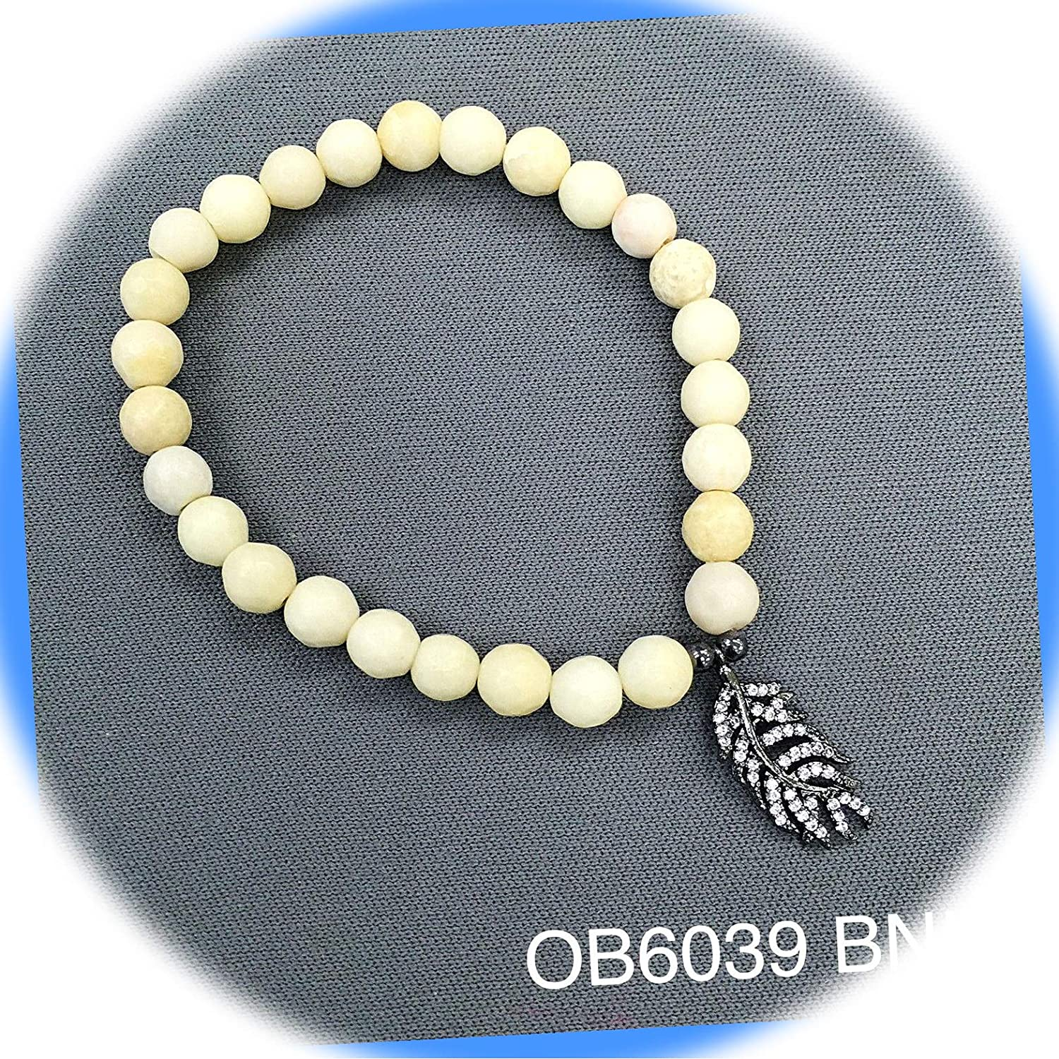 Be super welcome New Ivory Beaded Semi-Precious Award Cubic Zirconia Charm Stre Feather