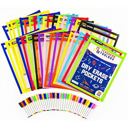 """Amazon.com : Dry Erase Pockets 35pc [10"""" X 13""""] +Free PENS +Bonus 900  Downloadable Worksheets! Write And Wipe Reusable Plastic Sheet Protectors  For Classroom Organization & Teaching Supplies By Teachers Toolbox : Office  Products"""