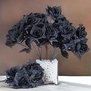 BalsaCircle 84 Black Silk Open Roses - 12 Bushes - Artificial Flowers Wedding Party Centerpieces Arrangements Bouquets Supplies
