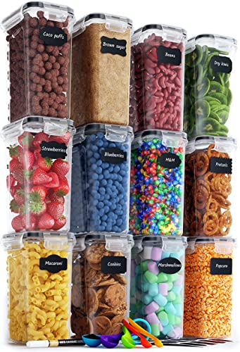 lowest Airtight Food Storage Containers Set - 12 PC/Small Size online - 2L/ 67oz - Kitchen & Pantry Organization, Ideal for Flour & Sugar - BPA-Free - Plastic Canisters with Labels, Marker & Spoon sale Set outlet sale