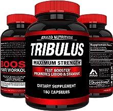 Tribulus Terrestris Extract Powder - Testosterone Booster with Estrogen Blocker - 45% Steroidal Saponins 1500mg - Arazo Nutrition USA - 180 Capsules