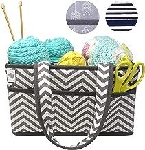 Premium Craft Caddy by Little Grey Rabbit   Knitting Storage Bin & Organizer Basket   Holds Yarn, Needles, Tape, More   Perfect Gift   White & Gray Chevron (Grey Chevron)