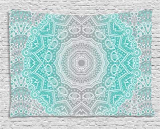 Ambesonne Grey and Turquoise Tapestry, Primitive Essence and Universe Harmony Mandala Ombre Art, Wide Wall Hanging for Bedroom Living Room Dorm, 60