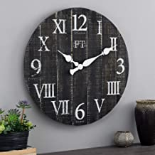 FirsTime & Co. White Rustic Farmhouse Barn Wood Clock, Black, 24 inches (31216)