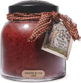 Scented Glass Jar Candle - 34 oz. Bonfire By The Lake Papa Jar Candle with Lid & True to Life Fragrance Made in USA - Keep...