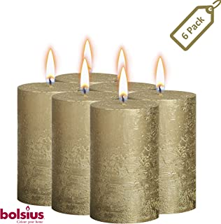 BOLSIUS Rustic Full Metallic Gold Candles – Set of 6 Unscented Pillar Candles – Gold Candles with a Full Metallic Coat – Slow Burning – Perfect Décor Candle – 130/68m 5 X 2.75 Inches