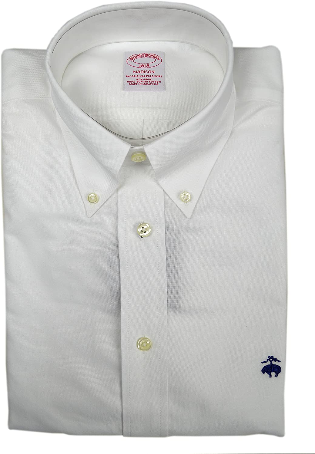 Brooks Brothers Men's Madison Classic Fit Supima Cotton Button Down Shirt White