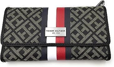 Tommy Hilfiger Women's Clutch Checkbook Wallet (Black/Beige Big H Logo/Navy Red Stripe)
