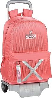 612000160 Mochila Escolar Grande con Carro 905 de Munich Coral, 300x140x460mm