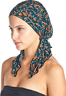 Women's Pretied Printed Fitted Headscarf Chemo Bandana - Teal Birds