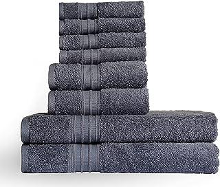 HomBasic Towel Set, 100% Ring Spun Cotton, 600 GSM, Pack of 8, 2 Bath Towel (70x140cm) 2 Hand Towel (40x70cm) 4 Washcloth...