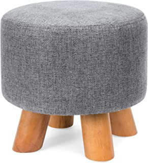 Best Choice Products Foam Padded Pouf Ottoman Footrest Stool w/Removable Linen Cover and Non-Skid Wooden Legs, Gray
