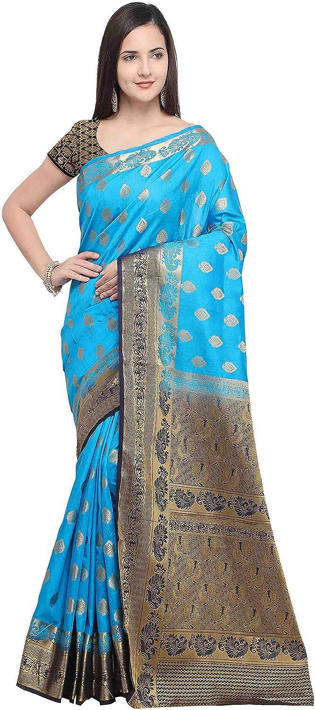 Rajnandini Women's Silk Kanjivaram Rich Pallu Peacock Zari Weaving Work Saree(JOPLNS2014B_Light bluee_)