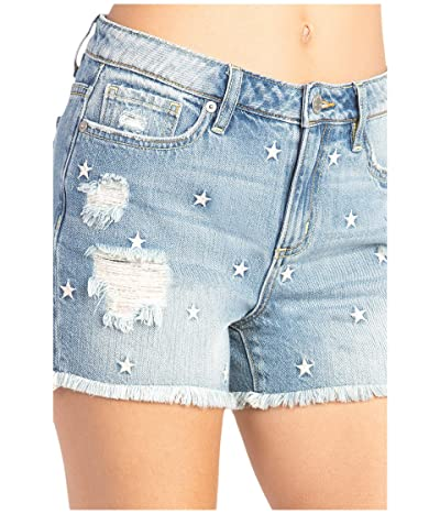 Miss Me Star Mid-Rise Relaxed Shorts (Vintage Blue) Women