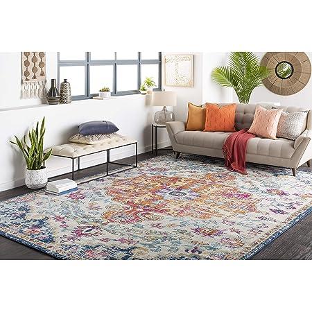Amazon Com Artistic Weavers Odelia Updated Traditional Rug Orange Navy 5 3 X 7 3 Furniture Decor
