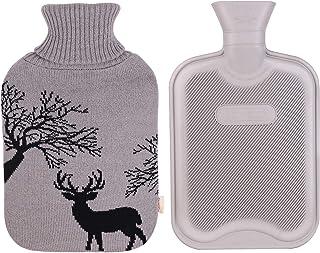 HomeTop Classic Rubber Hot Water Bottle w/Cute Yarn Knit Deer Cover (2 Liter, Gray)