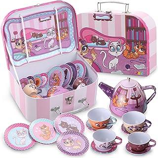 JOYIN Cat Kitties Pretend Tin Teapot Set for Tea Party and Kids Kitchen Pretend Play