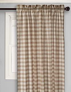Achim Home Furnishings, Taupe & Ivory Buffalo Check Window Curtain Single Panel, 42