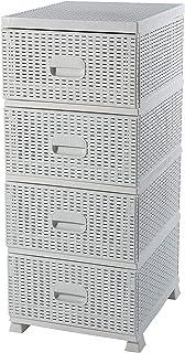 ADGO Armario con 4 cajones de ratán para cuarto de baño o dormitorio armario de almacenamiento de plástico 38 x 45 x 90 ...