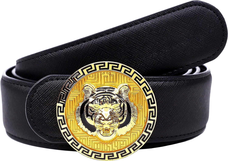 Moda de los hombres de oro/plata tridimensional Tiger Buckle Design Top Cinturón de cuero de vaca