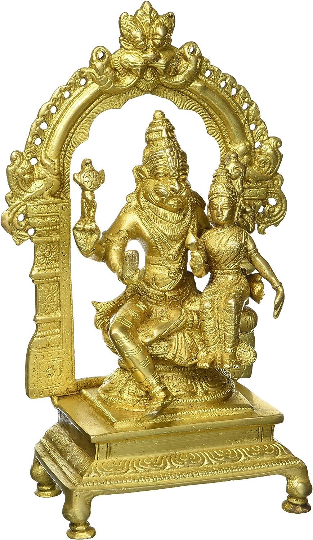 Gangesindia Brass Sculpture Lord Max 80% OFF Lakshmi OFFicial Narasimha