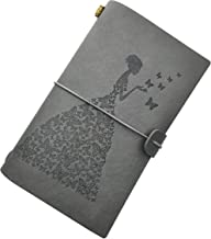 Butterfly Journal Vintage Refillable Leather Journal Travelers Notebook with 2 Notepads + 18 Card Slots + 1 PVC Zipper Pocket for Writing Diary Gift for Men Women Girls & Boys (Grey)