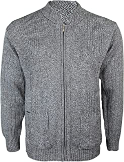 Miss Trendy Mens Classic Zip Up Vintage Plain Knitted Grandad Cardigan Jumper UK M - 4XL