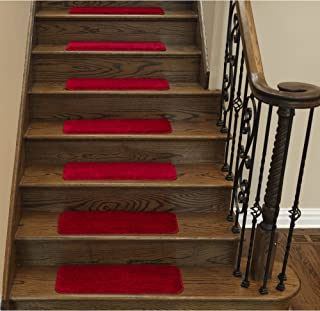 """Sweethome Stores Non-Slip Shag Carpet Stair Treads, (9""""X26"""")-7 Pack- Red Solid"""