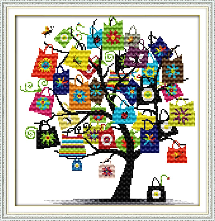 Cross Stitch Stamped Kits Cross Stitch Kits Beginner Adult with Preprinted Patterns, DIY Needlepoint Embroidery Craft Kits - Tree with Gift Patterns for Home Wall Decorations