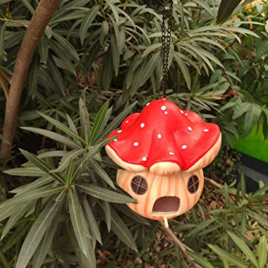 MARYTUMM Mushroom Hand-Painted Bird House, Outdoor Bird Hut, Waterproof Birdhouses for Outdoors Hanging, Cute Hanging Birdhou