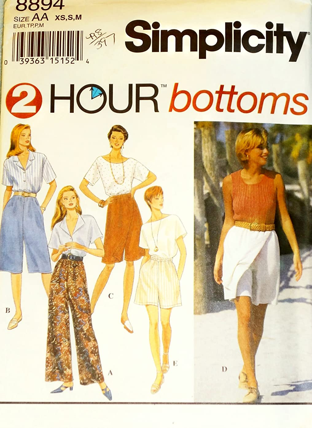 OOP Simplicity Pattern 8894. Misses Szs 6/8; 10/12; 14/16 Pants in 2 Lengths; & Shorts in 2 Lengths. Both Shorts & Pants: with or w/out Mock-Wrap Front