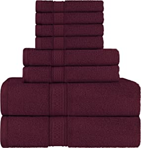 Utopia Towels Burgundy Towel Set, 2 Bath Towels, 2 Hand Towels, and 4 Washcloths,600 GSM Ring-Spun Cotton Highly Absorbent Towels for Bathroom,(Pack of 8)