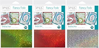 Gina K Designs Holiday Colors Fancy Foil 6 x 8 inch Sheets - Sparkling Silver, Glittering Green and Radiant Red with Storage Pocket